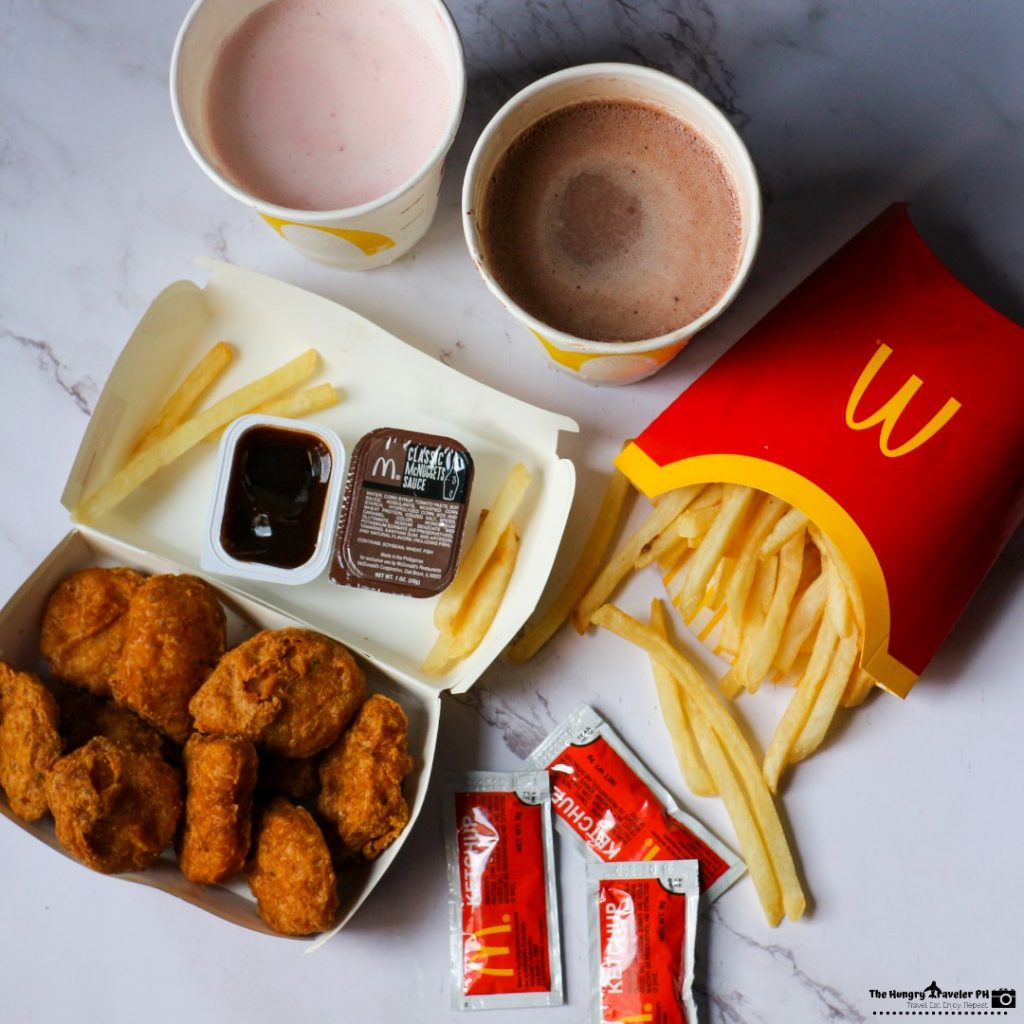 mcdo spicy nuggets and mcdo shake